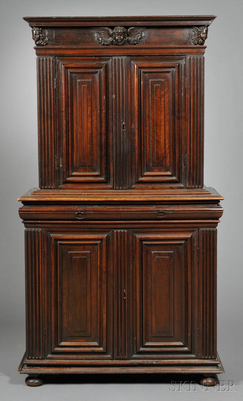 French Carved Walnut Cupboard