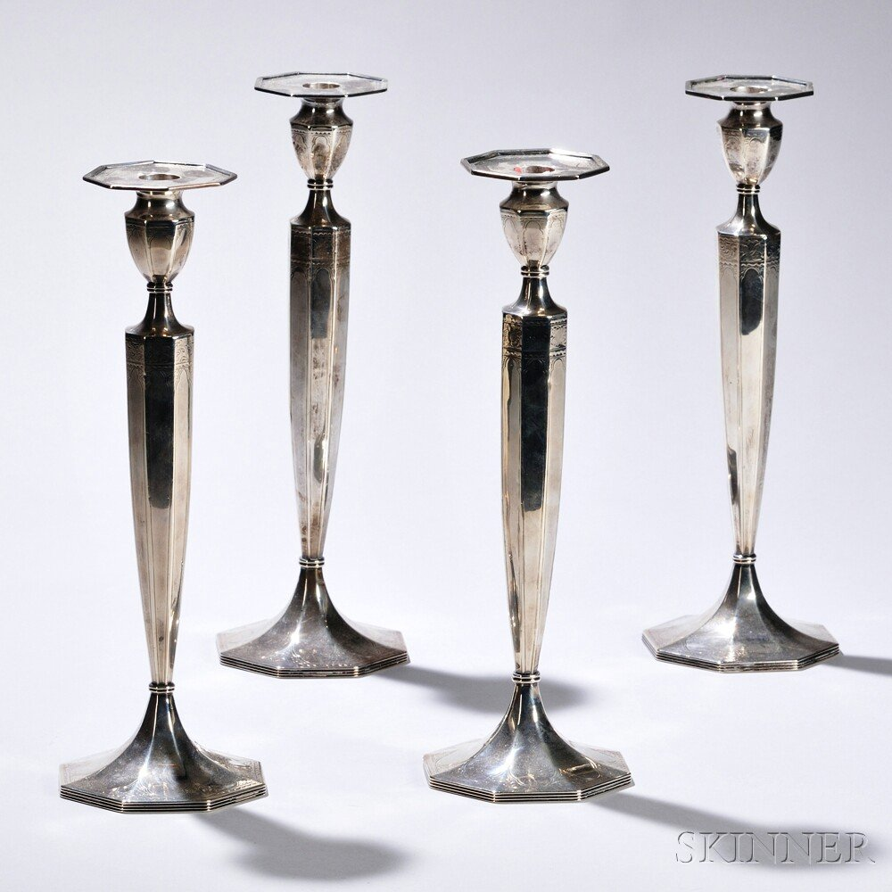 Four Barbour Silver Co. Sterling Silver Candlesticks