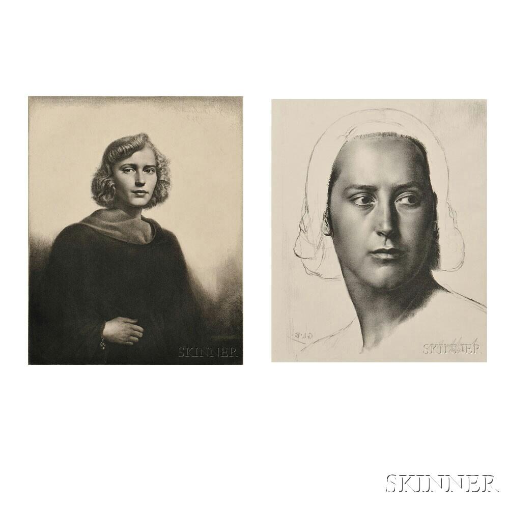 Gerald Leslie Brockhurst (British, 1890-1978)      Two Portraits: The Black Cloak (Mrs. Paul Mellon)
