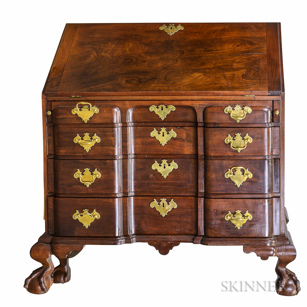 Chippendale Carved Mahogany Block-front Slant-lid Desk