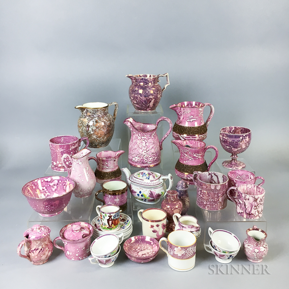Thirty-five Pink Lustre Ceramic Tableware Items.     Estimate $20-200