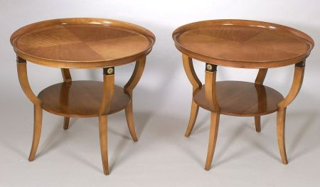 Pair of Charak Furniture Neoclassical Gilt-metal Mounted Part-Ebonized Fruitwood Dish-top Tables, with paper label, no. 4857, 1957.