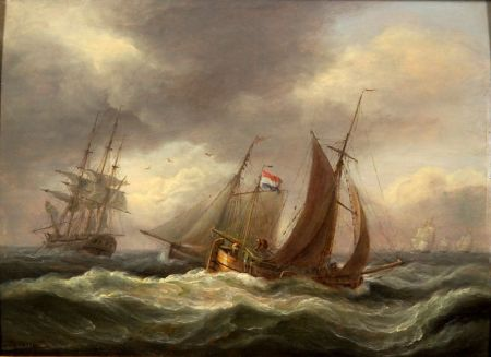 Thomas Luny (British, 1759-1837)    Shipping off Teignmouth