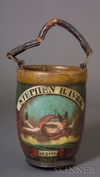 Paint Decorated Leather Fire Bucket