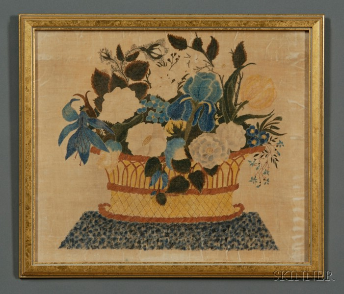 American School, 19th Century      A Theorem: Still Life of a Basket of Flowers.