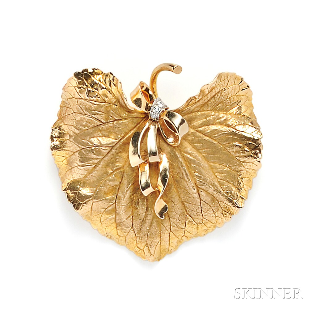 14kt Gold and Diamond Leaf Suite