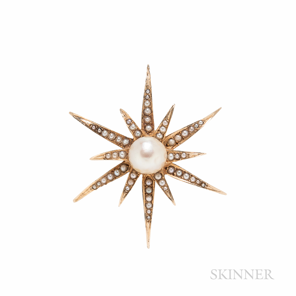 14kt Gold and Cultured Pearl Star Brooch