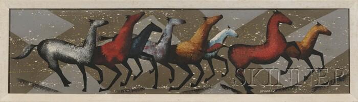 Edgar A. Stareck (American, 1917-1987)      Horses.