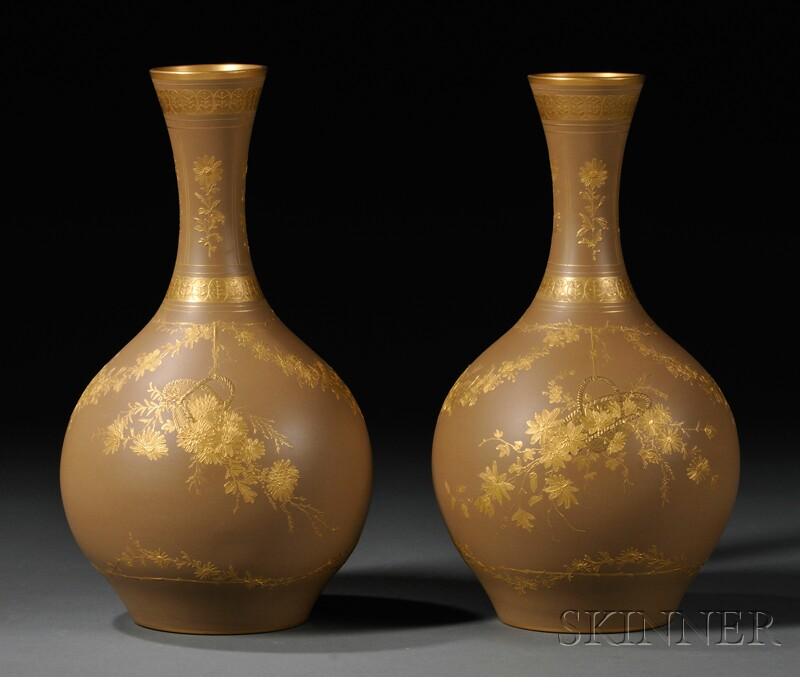 Pair of Wedgwood Gilded Stoneware Vases