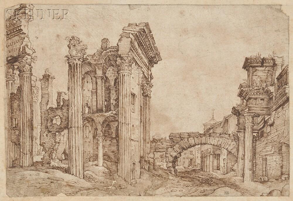 School of Maarten van Heemskerck (Flemish, 1498-1574)      Italian Ruins
