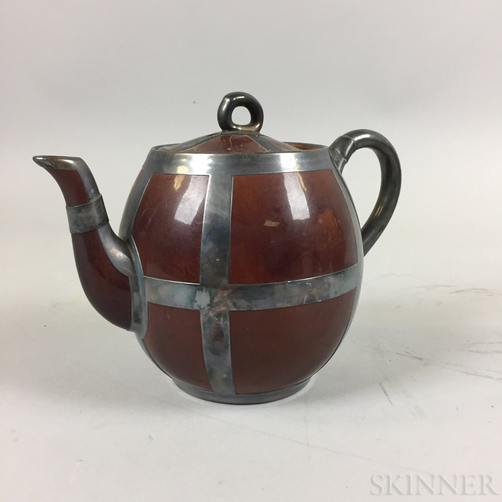 Arts and Crafts Silver-overlay Ceramic Teapot and a Joseph Heinrichs Copper Chafing Dish