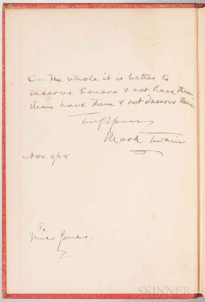 Mark Twain (1835-1910) Personal Recollections of Joan of Arc  , Signed Copy.