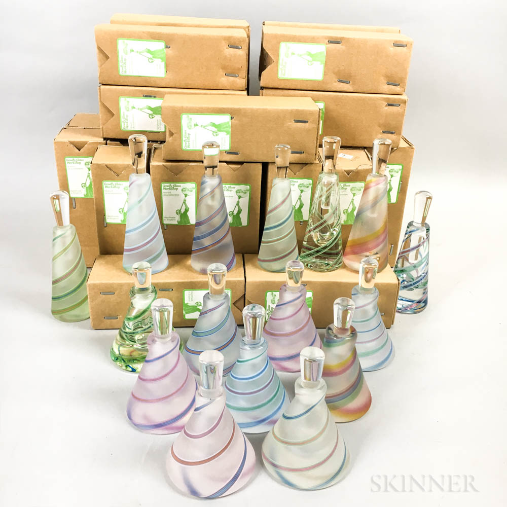 Thirty-six Cowdy Glass Workshop Tall Scent Bottles