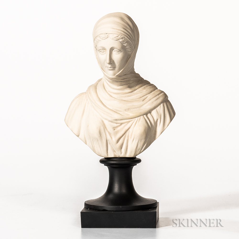 Non-period, Non-factory White Jasper Bust of Vestal
