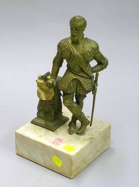 Renaissance Revival Bronze Figure on a White Marble Base.