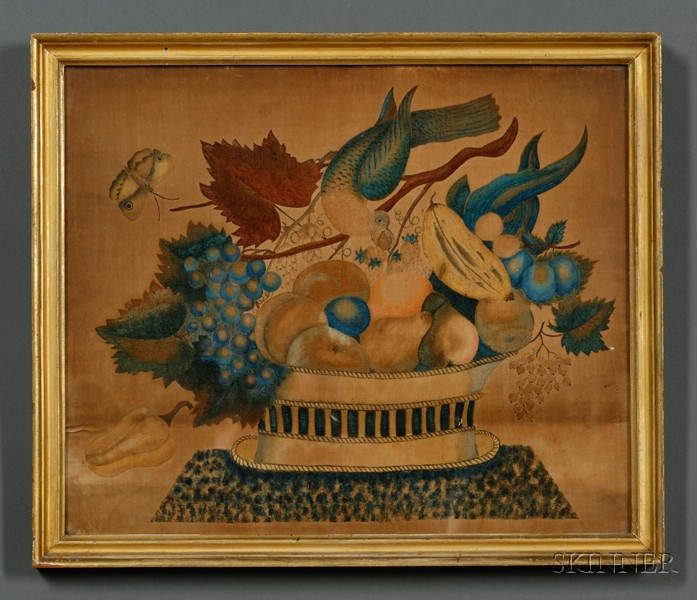 American School, 19th Century      A Theorem: Still Life of a Basket of Fruit with Parrot and Moth.