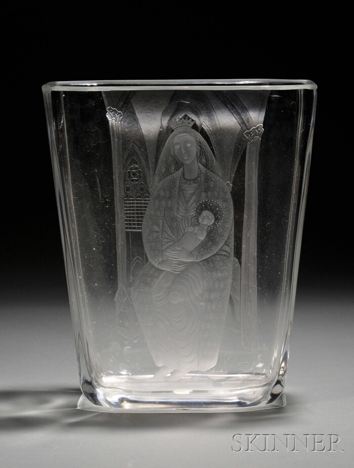 Sven Palmqvist (1906-1984) for Orrefors Engraved Colorless Glass Vase