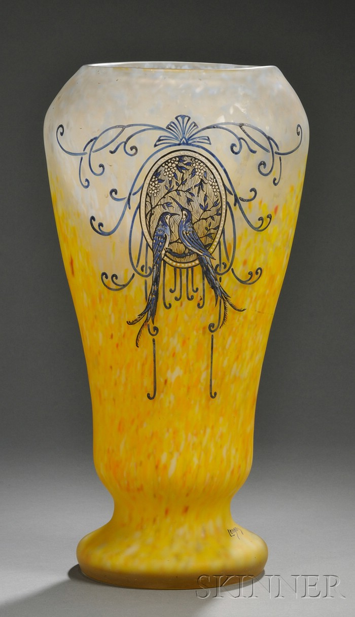 Legras Enameled Art Glass Vase