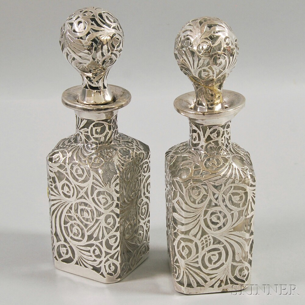 Pair of Silver Overlay Cologne Bottles