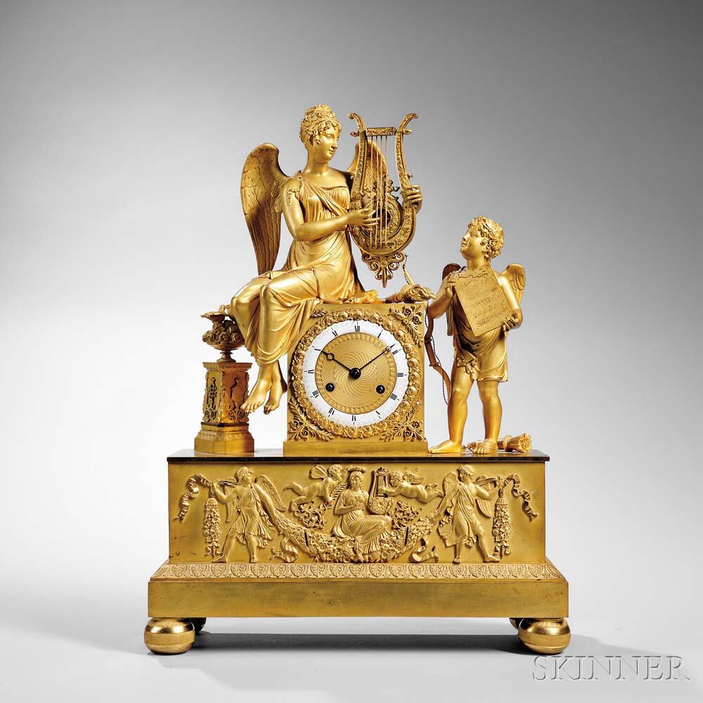 Gilt Classical Figural Mantel Clock