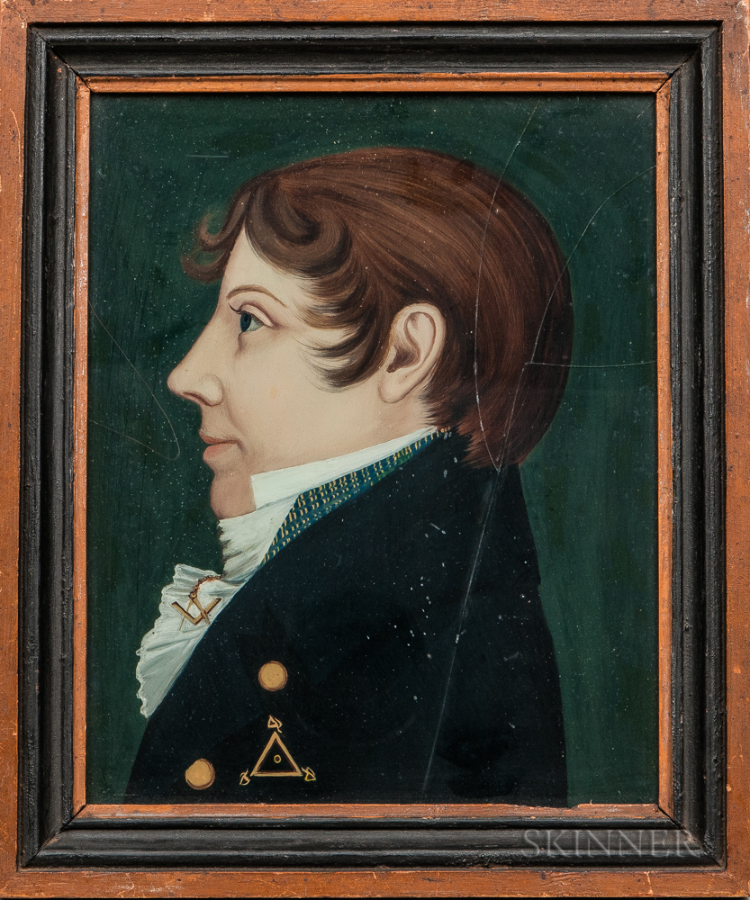Benjamin Greenleaf (Massachusetts/New Hampshire, 1769-1821)      Portrait of a Young Man with a Masonic Pin