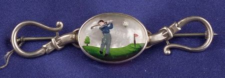 Sterling Silver Painted Crystal Golfer Pin