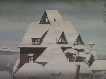 Japanese Block Print of Snowy Rooftops