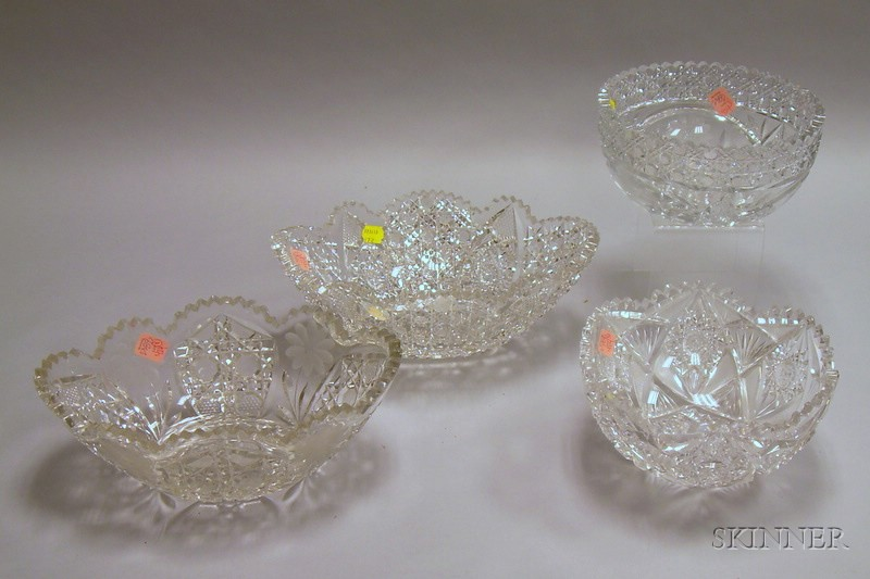Four Colorless Brilliant-cut Glass Bowls.