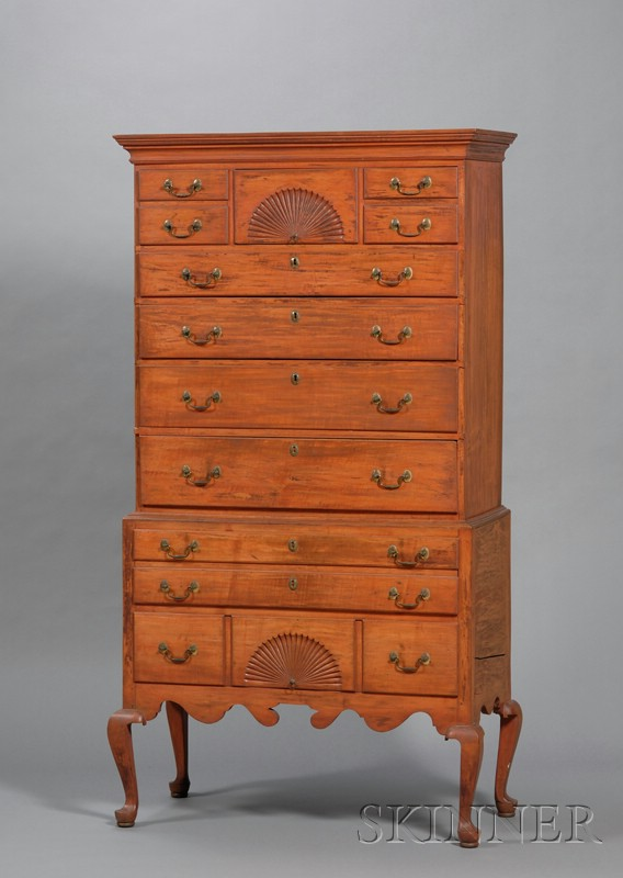 Maple Salmon Red-stained Carved High Chest of Drawers