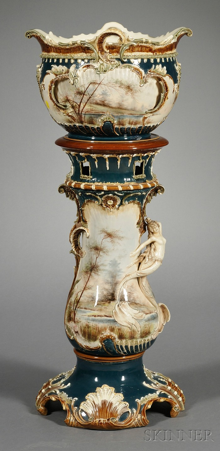 Art Nouveau Painted and Parcel-gilt Pottery Jardiniere and Pedestal