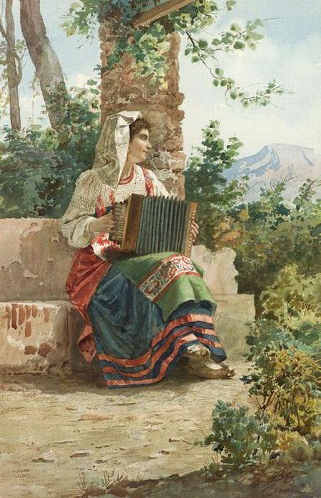 Italian School, 19th Century    Girl with Accordion