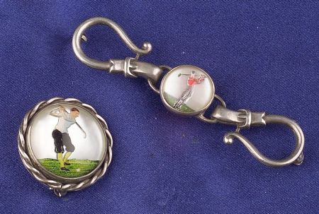 Two Sterling Silver Painted Crystal Golfer Pins