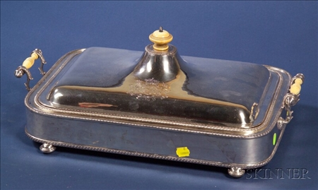 English Silver Plate Lidded Chafing Dish