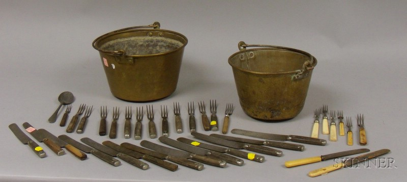 Ten Brass-faced Hanging Scales, Two Brass Kettle with Iron Swing Handles, and a Group of Bone-handled and Pewte...