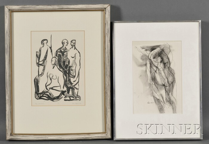 Lot of Two Works:      Don Lent (American, b. 1933), Portrait of a Female Nude