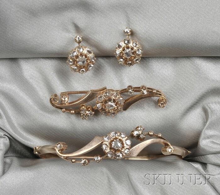 Antique 14kt Gold and Rose-cut Diamond Suite