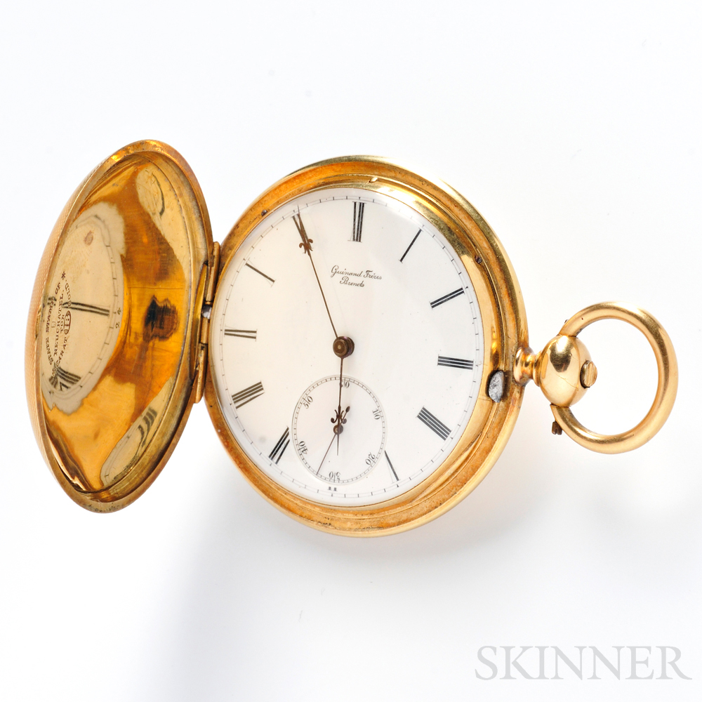 Antique 18kt Gold Hunting Case Pocket Watch, Guinand Freres