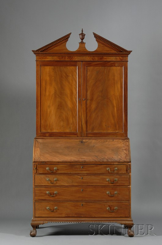 Chippendale Mahogany Carved and Mahogany Veneer Desk Bookcase