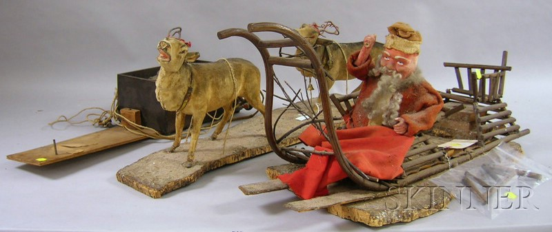 German Papier-mache Automaton of Santa in a Sleigh Drawn by Two Reindeer