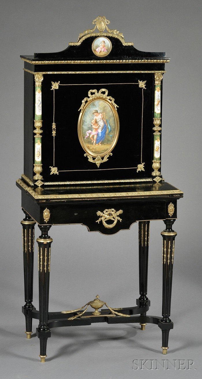 Napoleon III Ormolu-mounted, Ebonized, and Porcelain-mounted Desk