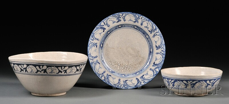 Dedham Rabbit Serving Plate and Two Serving Bowls