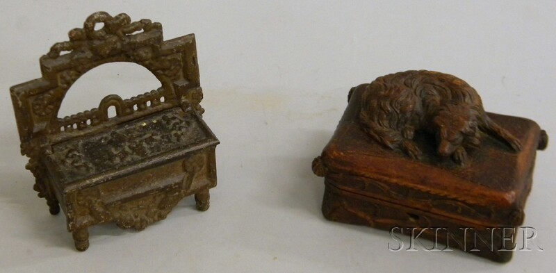 Carved Wood Dog on an Ottoman Figural Trinket Box and a Cast Iron Matchsafe.