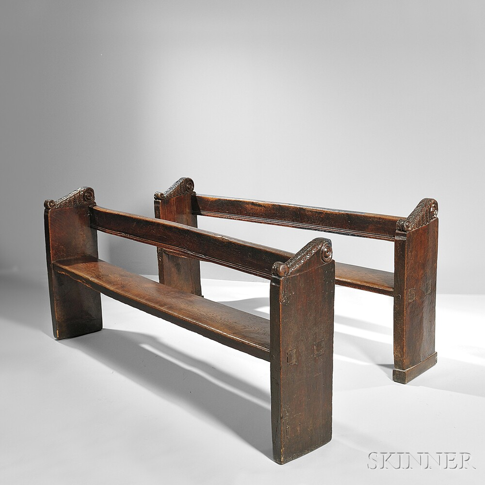 Pair of English Carved Oak Benches