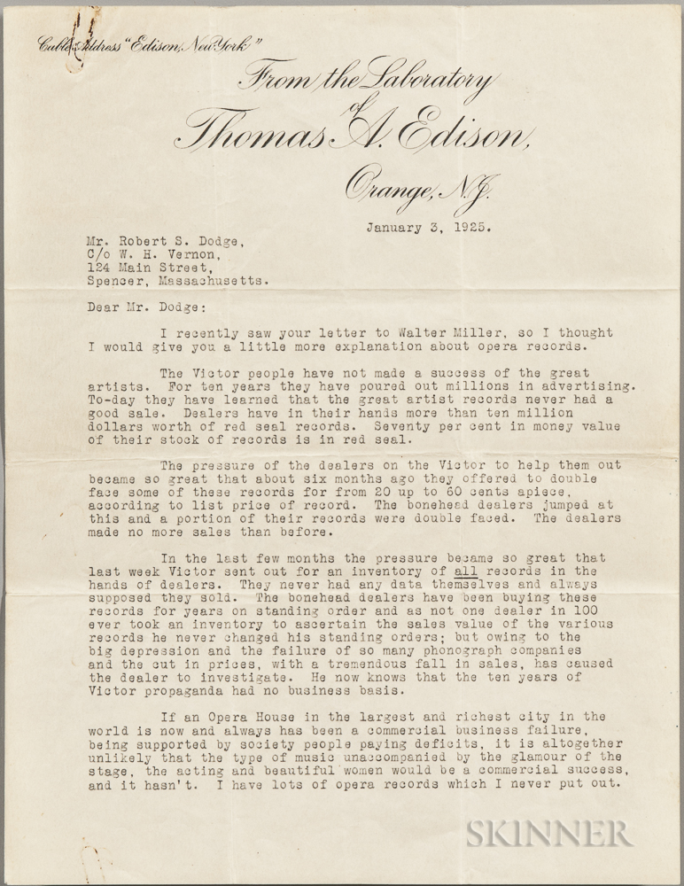 Edison, Thomas A. (1847-1931) Four Typed Letters Signed [Together with] Four Typed Letters Signed by Edisons Secretaries, 20 December