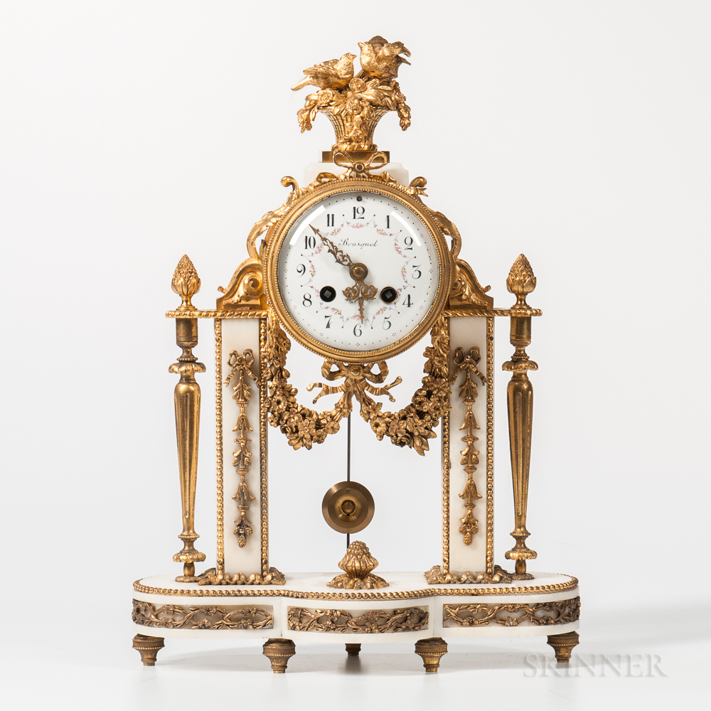 Gilt-bronze and Marble Mantel Clock
