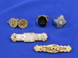 Victorian and Period Earrings, Two Rings and Two Pins.