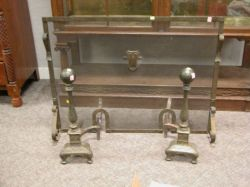Pair of Bradley & Hubbard Arts and Crafts Hammered Brass Andirons and a Firescreen.