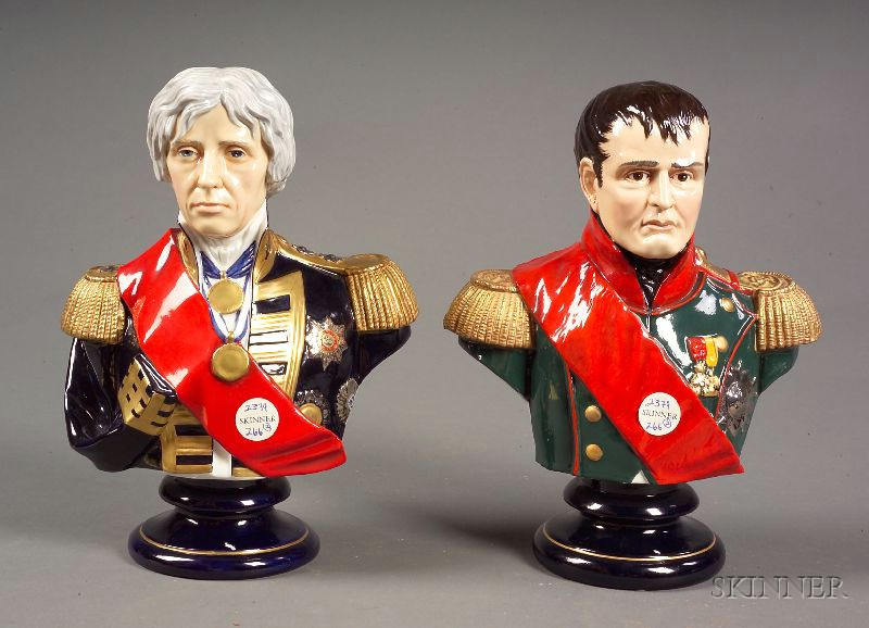 Two Porcelain Busts Depicting Emperor Napoleon Buonaparte and Lord Nelson