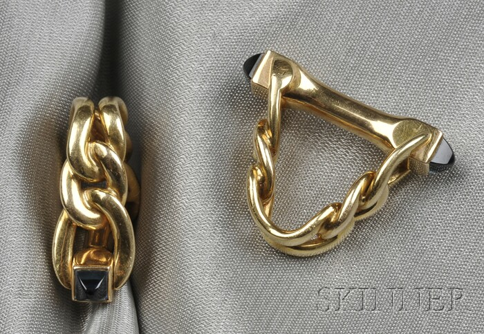 18kt Gold and Sapphire Cuff Links, Cartier, France