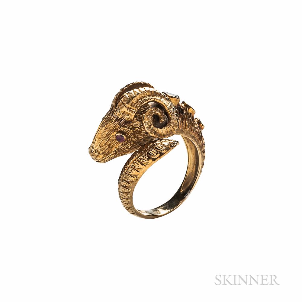 18kt Gold Gem-set Ram's Head Ring
